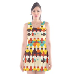Shapes in retro colors Scoop Neck Skater Dress