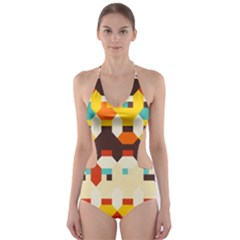 Shapes in retro colors Cut-Out One Piece Swimsuit