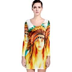 Indian 29 Long Sleeve Velvet Bodycon Dress