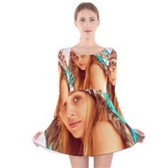 Indian 27 Long Sleeve Velvet Skater Dress