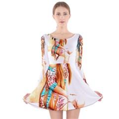 Indian 18 Long Sleeve Velvet Skater Dress