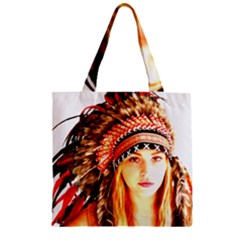 Indian 3 Zipper Grocery Tote Bag