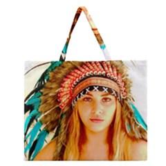 Indian 28 Zipper Large Tote Bag