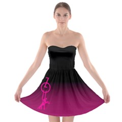 Zouk Pink/purple Strapless Bra Top Dress