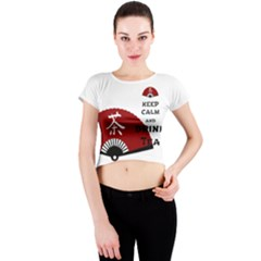 keep calm and drink tea - asia edition Crew Neck Crop Top