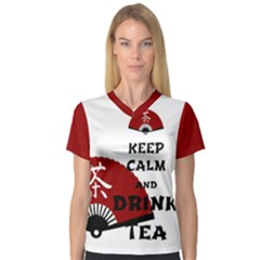 Keep Calm And Drink Tea   Asia Edition Women s V Neck Sport Mesh Tee