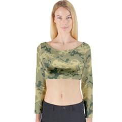 GreenCamouflage Long Sleeve Crop Top
