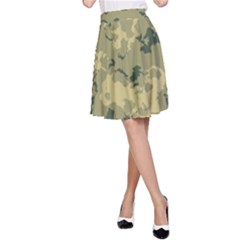 GreenCamouflage A-Line Skirt