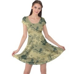 GreenCamouflage Cap Sleeve Dresses