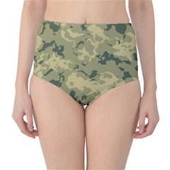 GreenCamouflage High-Waist Bikini Bottoms
