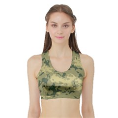 GreenCamouflage Women s Sports Bra with Border