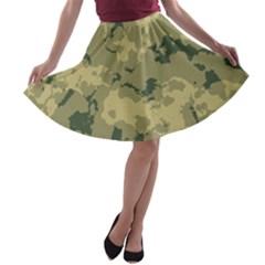 Greencamouflage A Line Skater Skirt