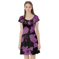 Pink Camouflage Short Sleeve Skater Dresses