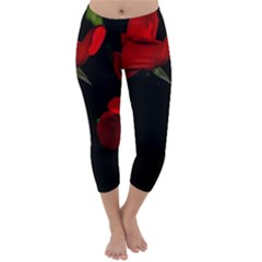 Roses 3 Capri Winter Leggings