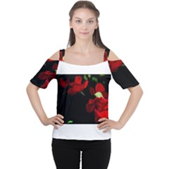 Roses 3 Women s Cutout Shoulder Tee