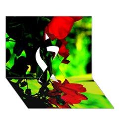 Red Roses And Bright Green 1 Ribbon 3d Greeting Card (7x5)