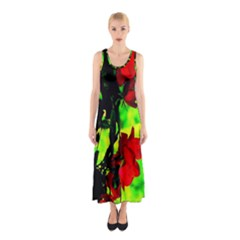 Red Roses and Bright Green 1 Full Print Maxi Dress