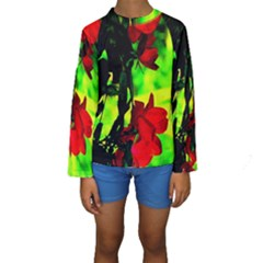 Red Roses and Bright Green 1 Kid s Long Sleeve Swimwear