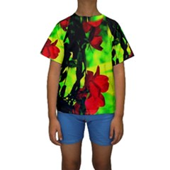 Red Roses and Bright Green 1 Kid s Short Sleeve Swimwear