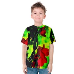 Red Roses and Bright Green 1 Kid s Cotton Tee