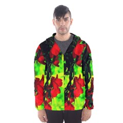 Red Roses And Bright Green 1 Hooded Wind Breaker (men)