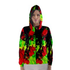 Red Roses And Bright Green 1 Hooded Wind Breaker (women)