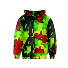 Red Roses And Bright Green 1 Kids  Pullover Hoodie