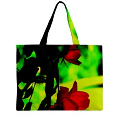 Red Roses And Bright Green 1 Zipper Mini Tote Bag