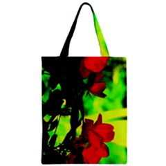 Red Roses And Bright Green 1 Zipper Classic Tote Bag