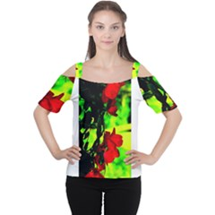 Red Roses And Bright Green 1 Women s Cutout Shoulder Tee