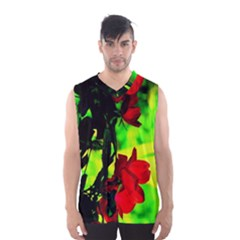 Red Roses and Bright Green 1 Men s Basketball Tank Top