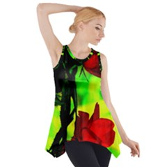 Red Roses and Bright Green 1 Side Drop Tank Tunic