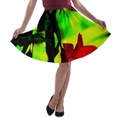 Red Roses and Bright Green 1 A-line Skater Skirt