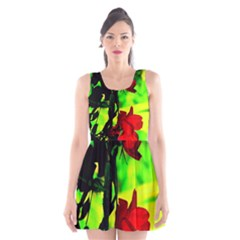 Red Roses and Bright Green 1 Scoop Neck Skater Dress