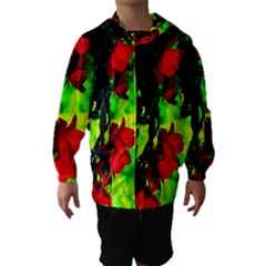 Red Roses and Bright Green 1 Hooded Wind Breaker (Kids)