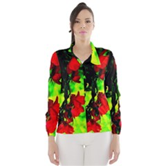 Red Roses And Bright Green 1 Wind Breaker (women)