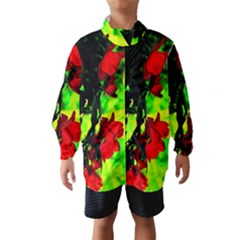 Red Roses and Bright Green 1 Wind Breaker (Kids)