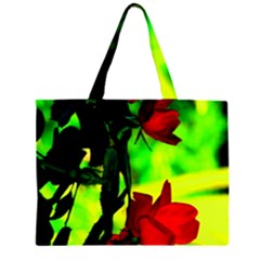 Red Roses and Bright Green 1 Large Tote Bag