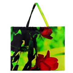 Red Roses And Bright Green 1 Zipper Large Tote Bag