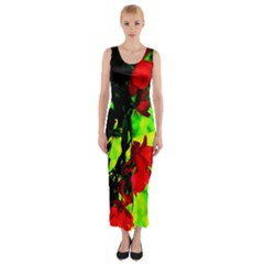 Red Roses and Bright Green 1 Fitted Maxi Dress