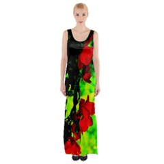 Red Roses and Bright Green 1 Maxi Thigh Split Dress