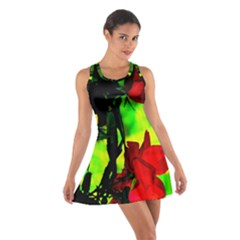 Red Roses and Bright Green 1 Racerback Dresses