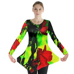 Red Roses And Bright Green 1 Long Sleeve Tunic