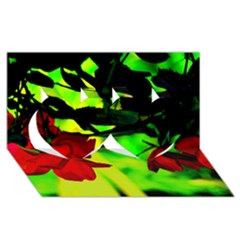 Red Roses And Bright Green 2 Twin Hearts 3d Greeting Card (8x4)