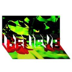 Red Roses And Bright Green 2 Believe 3d Greeting Card (8x4)