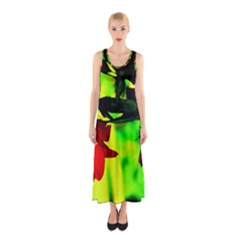 Red Roses and Bright Green 2 Full Print Maxi Dress