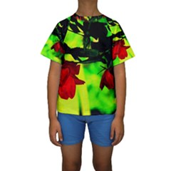 Red Roses And Bright Green 2 Kid s Short Sleeve Swimwear