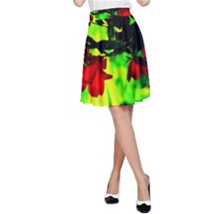 Red Roses And Bright Green 2 A Line Skirt