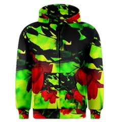 Red Roses And Bright Green 2 Men s Zipper Hoodie