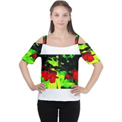 Red Roses and Bright Green 2 Women s Cutout Shoulder Tee